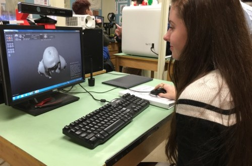 Isabel Wachtel, a Greenport High School senior, works in 3D design at the school's technology lab. Photo: Denise Civiletti
